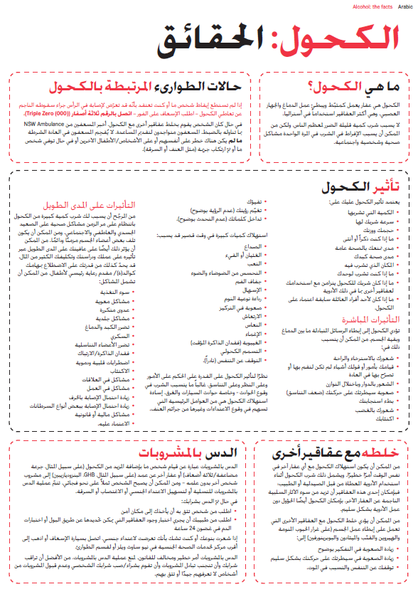 Alcohol Drug Facts (Arabic)
