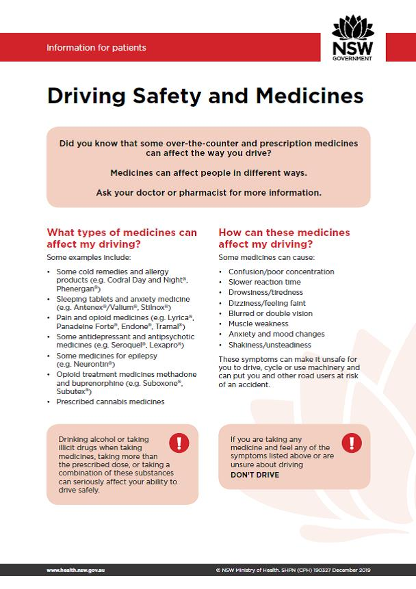 Driving Safety and Medicines Fact Sheet