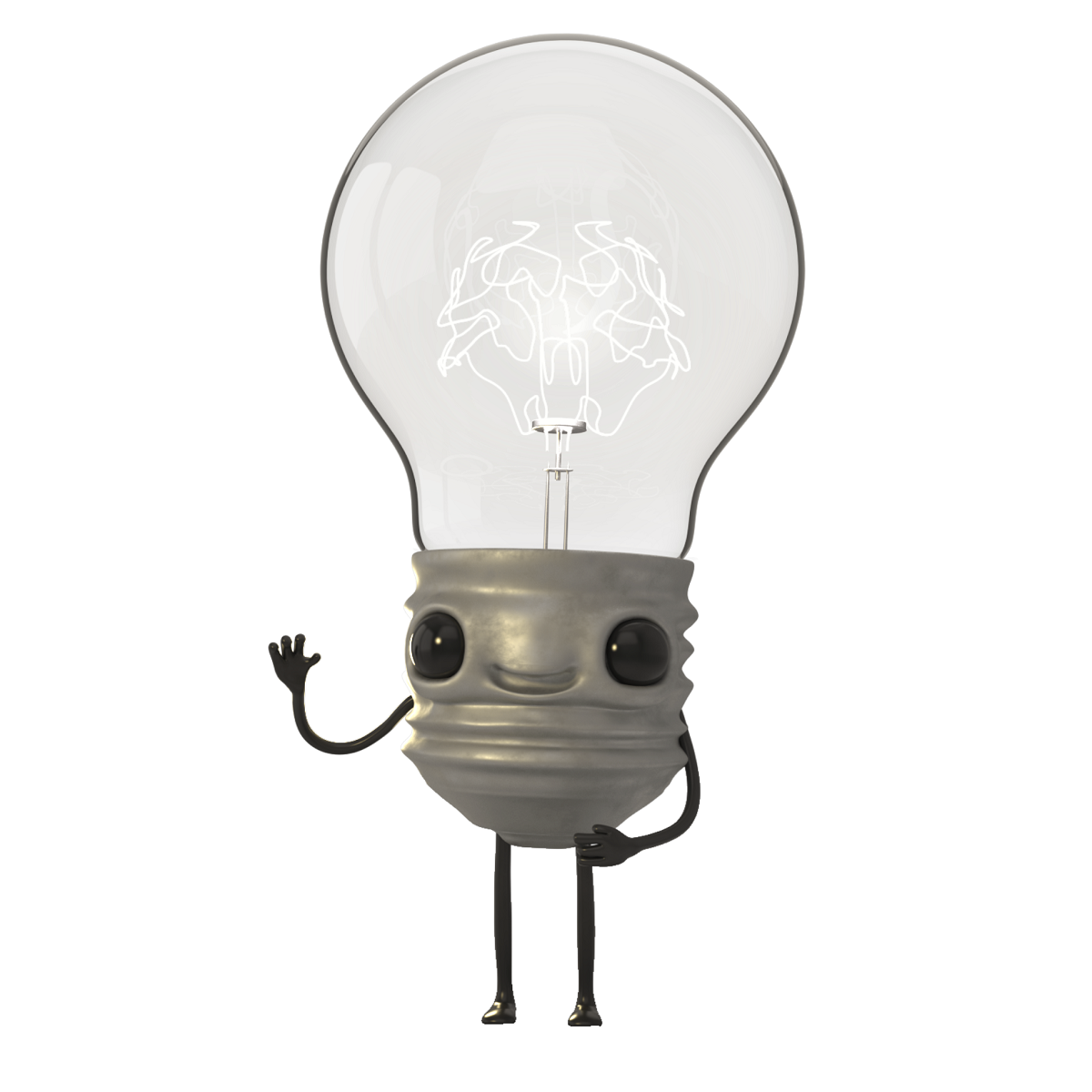 Respect Your Brain animated light globe character
