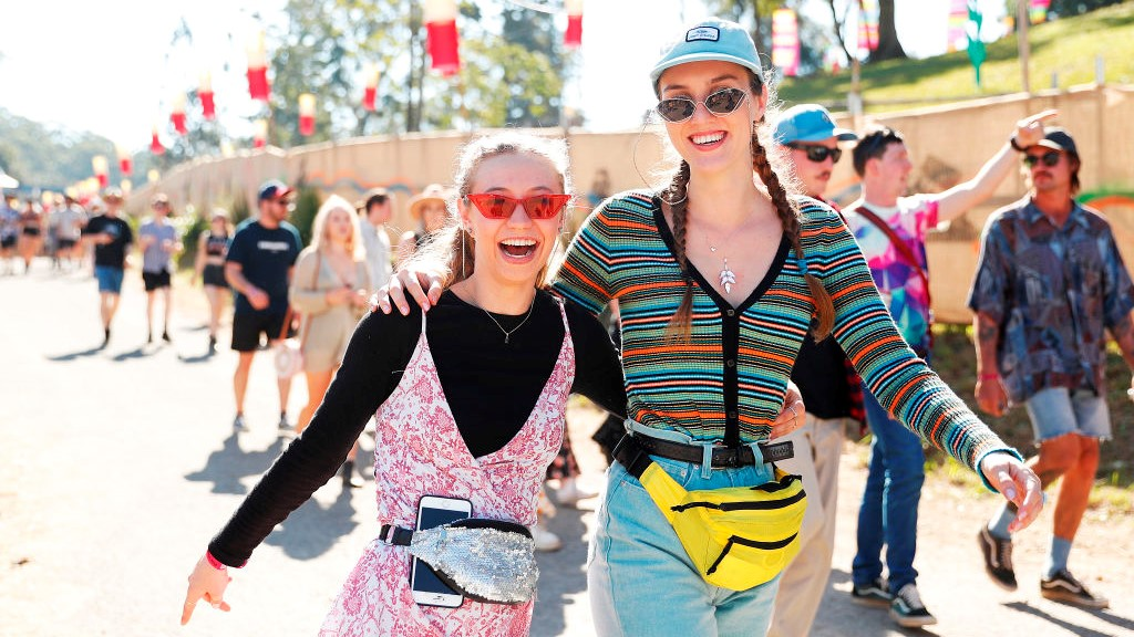 Two young women at a music festival